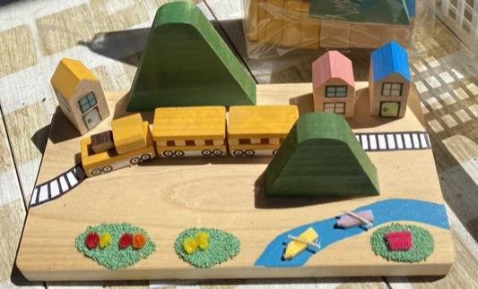 木工ジオラマセット「トロッコとカヌー」